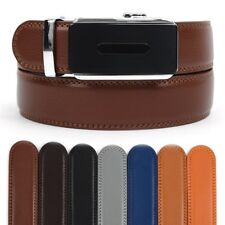 Men's Leather Ratchet Belt with Matte Island Automatic Buckle (MGLBB29)