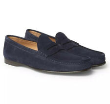 Ralph Lauren Purple Label Chalmers Navy Suede Leather Penny Loafers Shoes