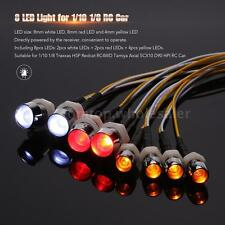 8 LED Light Kit 2 White 2 Red 4 Yellow for Traxxas HSP Redcat RC4WD RC Car J7H3