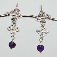 925 Sterling Silver Amethyst Gemstone Earrings Jewelry 3.68 gms jewelry CCI