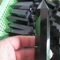 100% Natural Obsidian Black Quartz Crystal Stone Point Hexagonal Healing Wand