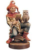 Statue Skulptur Narr Auf Bücher CM17 IN Holz Der IN Gröden Dekoriert Hand