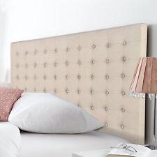 Bed Head Headboard King Beige Grid Pattern Linen Fabric Upholstery Cilantro