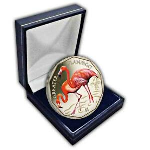 The 2019 Greater Flamingo Coloured Virenium Coin in a box
