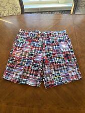 IZOD Men's 40 Shorts Flat Front Casual Chino Shorts Cotton Pocket Bermuda Plaid