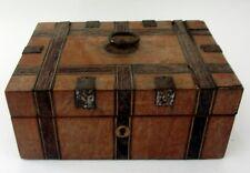 ANCIENNE BOITE A BIJOUX COUTURE AVEC MIROIR A L'INTERIEUR antique jewellery box