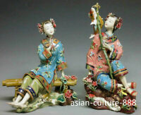 Chinese Ceramic Figurine / Porcelain Dolls Oriental Fishing Ladies Sister 2/set