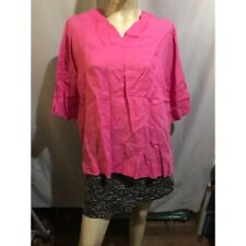 PINK LINEN V-NECK BLOUSE
