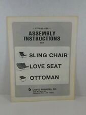 Vintage Instruction Owners Manual - Unarco Sling Ottoman Love Seat Chair MCM
