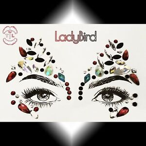 RTL ✨ LadyBird BLACK RED XMAS PARTY FESTIVAL BODY FACE GEMS JEWELS COSTUME MASK