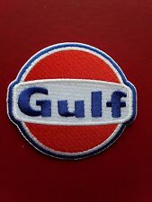 GULF OIL FUEL STATION MOTORSPORT RACING RALLY CAR EMBROIDERED PATCH UK SELLER