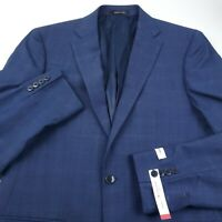 Calvin Klein Wool Suit Separate Jacket Blazer Mens 40L Slim Stretch Blue Plaid