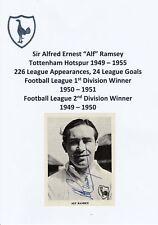 ALF RAMSEY TOTTENHAM HOTSPUR 1949-55 RARE ORIGINAL HAND SIGNED MAGAZINE CUTTING