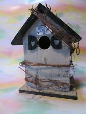 """Rustic """"Home Sweet Home"""" Wooden Hand Made Birdhouse - New!"""