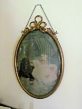 Antique Victorian Bubble Glass Frame Baby Doll and Dog