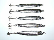 5 x FFT 30g Silver Mackerel Bass Cod Pike Spinners Treble Hook Boat Fishing