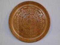 Moldovan Hand Carved Wooden Platter Display Moldova Folk Art Wood Plate Vintage
