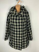 WOMENS NEW LOOK BLACK/WHITE PATTERN WINTER CASUAL POPPER OVERCOAT JACKET SIZE 10