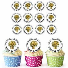 50th Golden Anniversary Flowers 30 Personalised Pre-Cut Edible Cupcake Toppers
