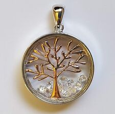 Solid 925 Sterling Silver Glass Enclosed Round Tree Of Life Pendant Floating CZ