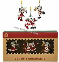 Disney 3 Ornament Set Santa Mickey Minnie Mouse Skating Christmas Star VTG Style