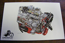 1956 CHEVROLET ONE HUNDRED YEARS ENGINE ILLUSTRATIONS BY DAVID KIMBLE POSTCARD