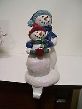 2 RESIN SNOWMAN FAMILY STOCKING HOLDERS CHRISTMAS DECORATION MANTLE