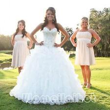 Plus Size White/Ivory Organza Sweetheart Wedding Dress Bridal Gown A-Line Custom