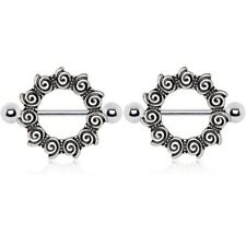 "ANTIQUE-STYLE TRIBAL NIPPLE PIERCING SHIELDS BARBELLS 14g 7/8"" (Sold in Pairs)"