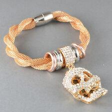Armband Kette Totenkopf Strass Geflochten Farbe Gold Gedreht Statement Skull