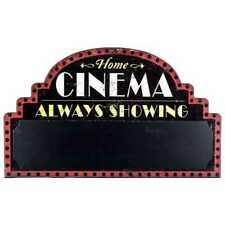Cinema Home Theater Wall Sign  Media Chalk Board Room Movie Night Wall Decor