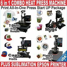 6 in 1 COMBO HEAT PRESS SUBLIMATION T-SHIRT MUG + PRINTER EPSON START UP PACKAGE