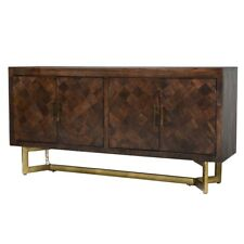 "72"" Sideboard Buffet Cabinet Solid Mango Wood Iron Base- Antique"