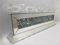 Mirrored 5 Pillar Candle Holder Sparkly Silver Diamond Crush Crystal