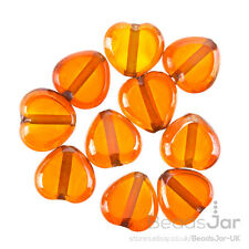Lustred Heart Orange Glass Charm Pendant/Beads 12mm Pack of 10 (A91/8)