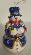 """Christmas Musical Box Blue Snow Man with Toys 5"""" Ornament  Moved Inside"""