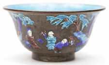 Antique Chinese Export Qing Dynasty Enameled Metal Bowl Silvered Copper Enamel
