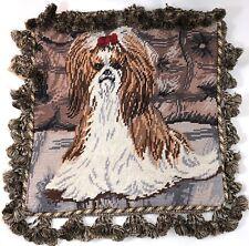 "Shih Tzu Dog Needlepoint 14"" Velveteen Back w/ Zipper+Fringe Cute Rare Vintage"