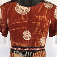 Dolina Womens Brown Knee Length Dress Summer Size 16 Tribal Print Side Splits