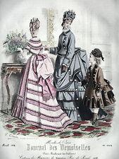 GRAVURE ANCIENNE MODE 19e - JOURNAL DES DEMOISELLES  - AVRIL 1874