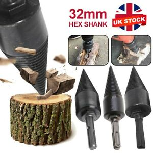 3Pcs 32mm Firewood Drill Bit Wood Log Cone Splitter Wood Screw Splitting Drill