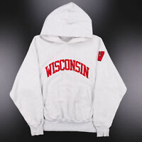 Vintage CHAMPION Wisconsin Badgers Grey Sports Pullover Hoodie Mens M