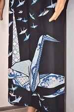 Rare vtg 60s Fumi's Huge Japanese Hawaiian Crane/Origami Long Dress Womens Small