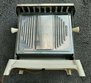 Vintage ORMOND UK Silver Side Loader Toaster on white base