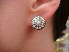 VINTAGE,1.85CT T.W. DIAMOND FLOWER DESIGN EARRINGS, SCREW BACKS,13.3MM DIAMETER