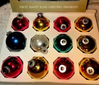 Vintage Shiny Brite 12 Small Assorted Colors Round Christmas Tree Ornaments Cute