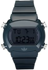 New Adidas Digital Chronograph Alarm Nite Lite Blue Rubber Watch 45x40mm ADH6065