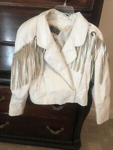 White Leather Jacket With Fringe Size Medium
