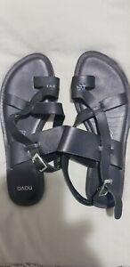 Novo Sade Black Leather Sandals Shoes Flats Size 10 40-41