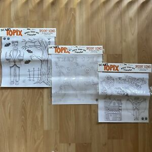 Halloween Iron On & Paint Transfers Spooky Scenes Vintage 1990 Lot of 3 Sheets